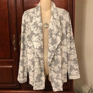 Chico's gray and cream open front cardigan